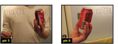 Coin through soda can magic trick
