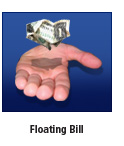 floating dollar bill