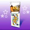 card on glass balance